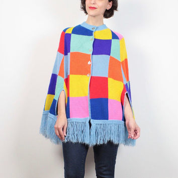 Vintage 70s Sweater Cape Rainbow Knit Boho Color Block Geometric Hippie Fringe Trim Poncho 1970s Jumper Cape Coat S M Medium L Free Size OS
