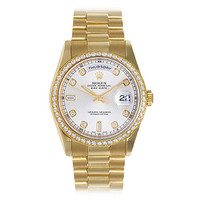 Rolex Yellow Gold Day-Date Wristwatch with Factory Diamonds Ref 118348