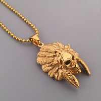 NEW Good Golden Tribal Chief Pendant Necklace Ball Chain Skull Pendant Hip hop Mens Fashion Jewelry Free Shipping