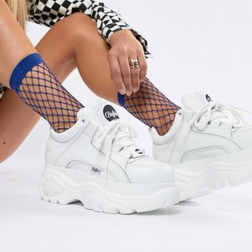 Buffalo Classic Lowtop Platform Sneakers in White at asos.com