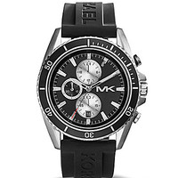 Michael Kors Men's Jet Master Black Silicone Strap Chronograph Watch