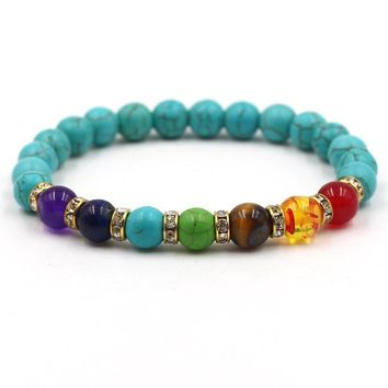 Great Deal Shiny Gift Hot Sale Stylish New Arrival Awesome Black Turquoise Multi-color Yoga Bracelet [276346601501]