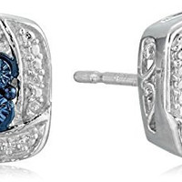 Sterling Silver White and Blue Diamond Accent Fashion Earrings