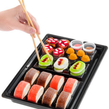 Candy Sushi: A tray of colorful candy shaped like sushi.