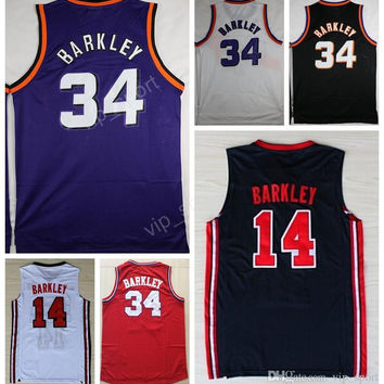 Throwback 34 Charles Barkley Jersey Men 1992 USA Dream Team One 34 Charles Barkley Basketball Jerseys Vintage Sport Purple Red Blue Black