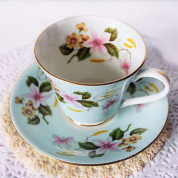 Aynsley Teacup Pastel Blue Pink Lilies Floral  Teacup Hand Painted Shabby Chic China Cabinet Decor English Porcelain Collectors Gift for Her