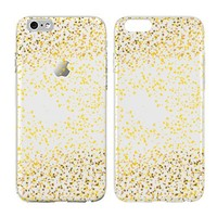 iPhone Gold Sparkle Case, Glitter Sparkling, Transparent Skin, Scratch Proof Protective Slim Case for iPhone 6 6s