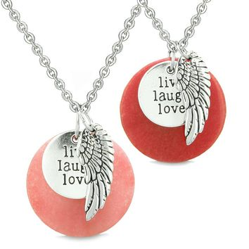 Guardian Angel Wing Live Laugh Love Inspirational Amulets Couples Set Pink and Red Quartz Necklaces