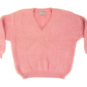 Vintage Pink Slouchy Sweater - Chunky, Knit, Pastel, Slouchy, V-Neck, Wool - Women's Size Large Lrg L