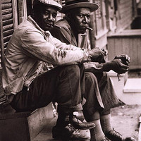 African American Men Sitting on Stoop Charleston SC 1962