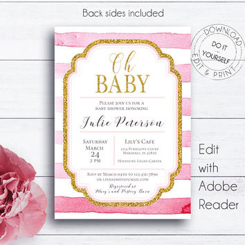 Striped Shower Invitation, Pink and Gold, Striped Invitation, Baby Shower, Shower Invitation, Striped Baby Shower, Pink Girl Shower, Oh Baby