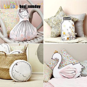 LUCKY BOY SUNDAY little girl soft toy cute Swan cushion pillow home decoration pillow baby appease doll with music kids toy gift