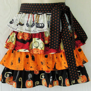 Cute Halloween Apron, Halloween Party, Jack O Lanterns, Spooky Chicster, Retro Waist Apron, KitschNStyle