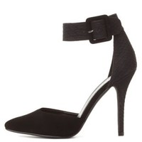 Black Texture Block D'Orsay Ankle Strap Heels by Charlotte Russe