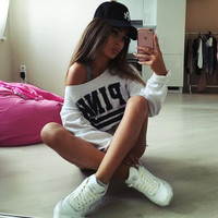 Collar strapless lo shi short paragraph long-sleeved letters printed hooded sweater thin section