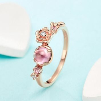 LlouLeur 925 sterling silver natural rose quartz rings Beauty and Beast Bell Princess pink crystal flowers rings for women gift