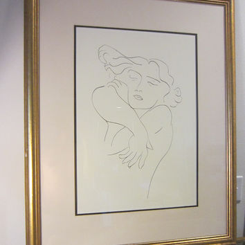 Attributed Matisse Abstract Expressionism Portrait Print Line Drawing