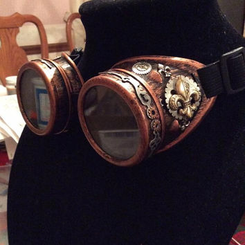 Steampunk Victorian Fleur De Lis Goggles in red copper tone , by Bree Orlock Designs
