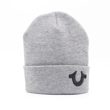 Perfect True Religion Women Men Embroidery Winter Beanies Knit Hat Cap