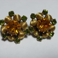 Vendome Rhinestone earrings, yellow and green crystal rhinestone earrings, Gold tone clip on, high end jewelry, Gingerslittlegems