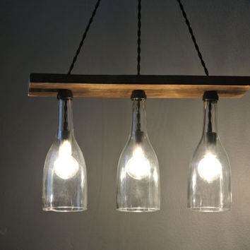 Recycled Clear Wine Bottle Chandelier