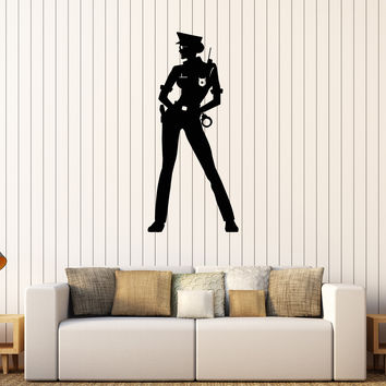 Vinyl Wall Decal Woman Police Officer Law Stickers Mural Unique Gift (263ig)