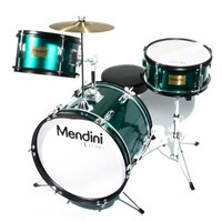 Mendini MJDS-3-GN 16-inch 3-Piece Green Junior Drum Set with Cymbals, Drumsticks and Adjustable Throne