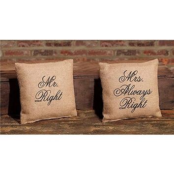 Mr. Right and Mrs. Always Right - Flea Market Jute Accent Throw Pillow Set - 8-in x 8-in each