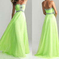cheap prom dresses, long prom dress, formal evening dress, strapless prom dress, light green dress,RE206