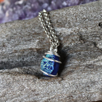 Cobalt Blue Aura Quartz Necklace - Druzy Jewelry - Festival Fashion - Hippie Wedding Necklace - Boho Chic Bridesmaid Jewelry - Blue Stone