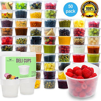 Plastic Food Storage Containers with Lids - Restaurant Deli Cups / Foodsavers, Baby & Portion Control - Kids Lunch Boxes - Watertight / Leakproof Takeout Set (15.2oz, 50pcs)