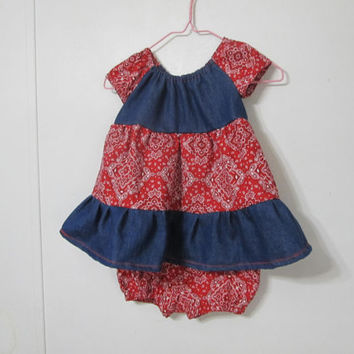 Denim and bandanna Peasant dress, Made to Order, Country Western dress and bloomers,  Infant 2 piece outfit , Size 6 month