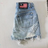 Cut Off Shorts Denim Jeans Ralph Lauren Polo Jeans Frayed Jean Shorts High Waisted Sho