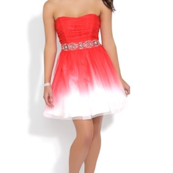 Ombre Strapless Dress with Chunky Stone Trim Waist and A-Line Skirt