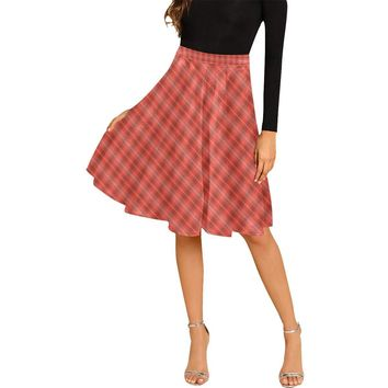 Red plaid pleated midi skirt