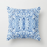 Indigo Blue Watercolor Swirl Pattern Throw Pillow by Micklyn