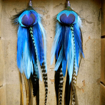 SALE 20 Percent OFF the ENTIRE shop - Peacock Extra Long Feather Earrings