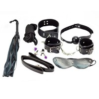 Top Sex Tools SM 7 Pieces Set Whip Rope Mouth Stuffed Nipple Clamps Mask Handcuffs Cuffs Under the Bed Restraint System(Black)