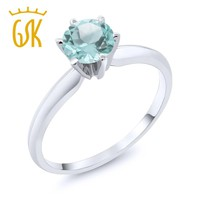 14K White Gold 0.90 Ct Sky Blue Topaz Engagement Solitaire Ring