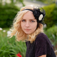 Great Gatsby Headband - 1920s Headpiece - Black Flapper Headband - Roaring 20s Headband for Women - Black Feather Headband Photo Prop