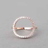 CIRCLE LOVE RING SWAROVSKI CIRCLE RING ROSE GOLD CIRCLE JEWELRY by Kellinsilver.com - Fashion Jewelry Shop as ETSY