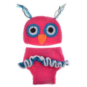High Quality Newborn Wool Knitting Owl Design Baby Costume Hat+Shorts Suits
