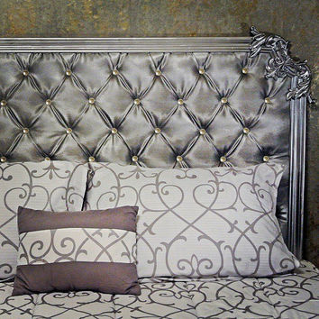 Tufted headboard with trim and beautiful scroll designs, other colors and designs available.