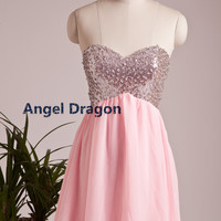 Angel Dragon  Cocktail Chiffon Party Dresses Short Evening Gowns