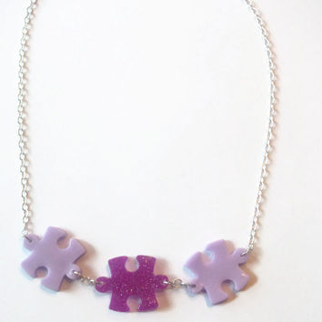 Autism Awareness Puzzle Piece Resin Pendant Necklace, Autism Jewelry, Purple Glitter, Lilac