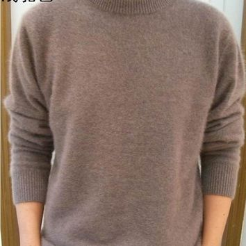 Mens Cashmere Wool Solid Color Sweater