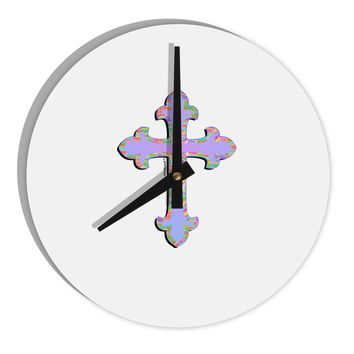 """Easter Color Cross 8"""" Round Wall Clock"""