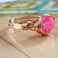 Wire Wrapped Jewelry Handmade, Fuschia Jewelry, Hot Pink Ring, Gold-Filled Jewelry
