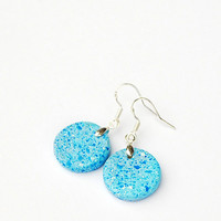 Small light blue earrings. Elegant everyday earrings. Colorful blue mood earrings. Handmade clay earrings. Minimalist earrings. Blue dots.