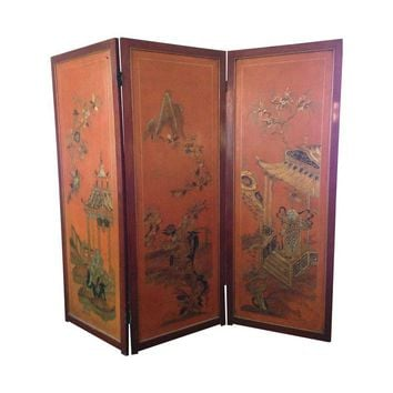 Pre-owned Asian Mahogany Hand-Painted Room Divider